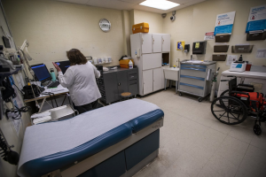 A medical exam room in the Worcester County jail in West Boylston